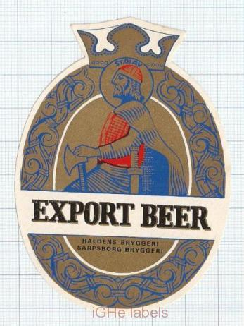 NORWAY - Haldens Bryggerier Sarpsborg - EXPORT BEER - beer label