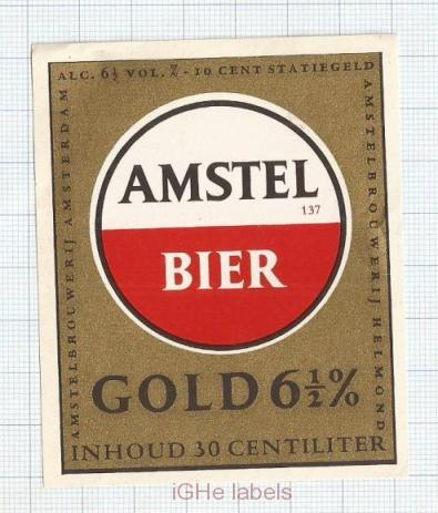 HOLLAND - Amstel, Amsterdam - AMSTEL BEER GOLD - beer label