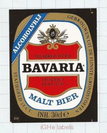 HOLLAND - Bavaria Brouwerij Lieshout - MALT BIER - beer label
