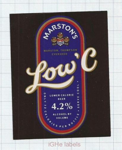 ENGLAND (UK) - Marstons Burton-on-Trent - LOW C -beer label