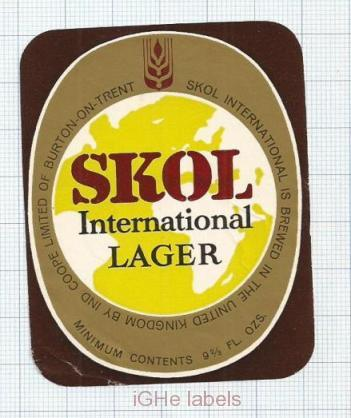 ENGLAND (UK) - Ind Coope Lim Burton-On-Trent - SKOL Lager - beer label
