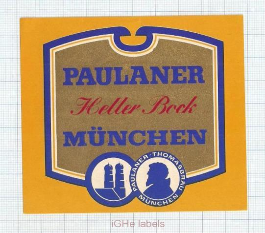 GERMANY - Paulaner Salvator Thomas Brau Minich - HELLER BOCK - beer label