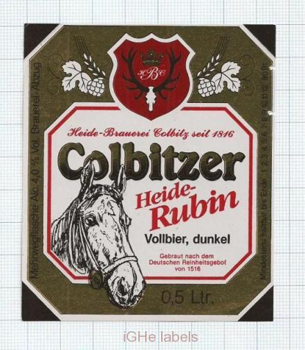 GERMANY - Heidebrauerei Colbitz - HEIDE RUBIN - beer label