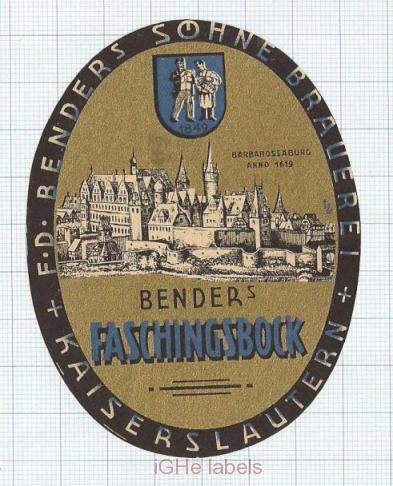 GERMANY - F.D.Benders SOhne Kaiserslautern - FASCHINGSBOCK - beer label