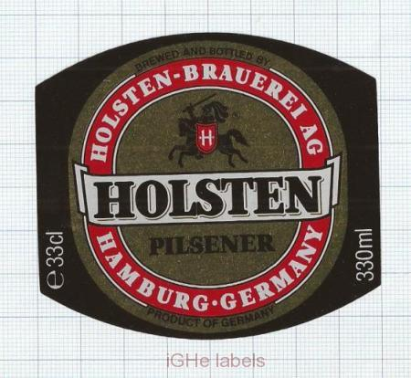GERMANY - Holsten-Brauerei Hamburg - PILSENER - beer label