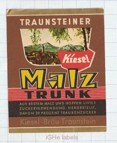 GERMANY - Kiesel Bräu Traunstein - MALZ DRUNK - beer label