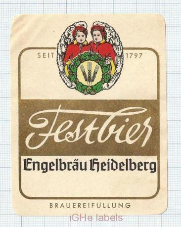 GERMANY - Engelbräu  Heidelberg - FESTBIER - beer label
