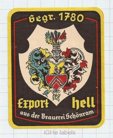 GERMANY - Brauerei Schonram - EXPORT HELL - beer label