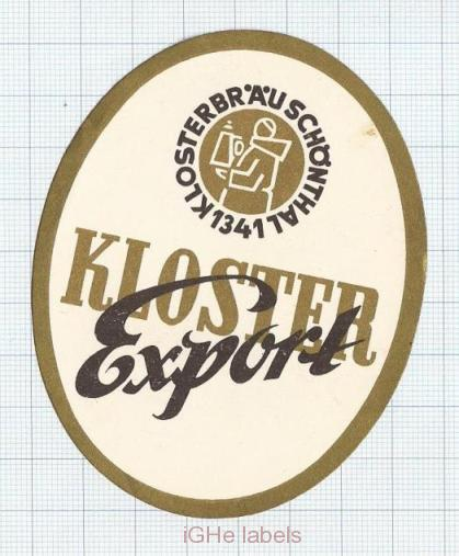 GERMANY - Klosterbräu Schonthall - KLOSTER EXPORT - beer label