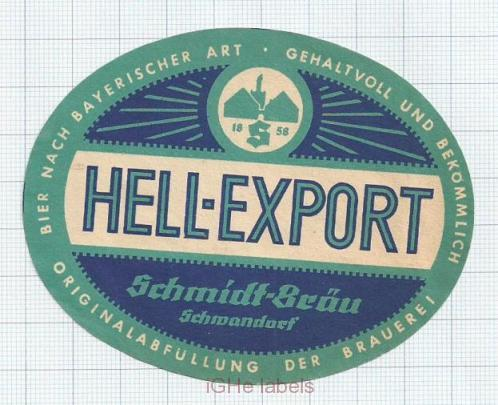 GERMANY - Schmidt Bräu Schwandorf - HELL EXPORT - beer label