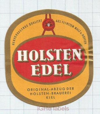 GERMANY - Holsten Brauerei Hamburg - EDEL - beer label