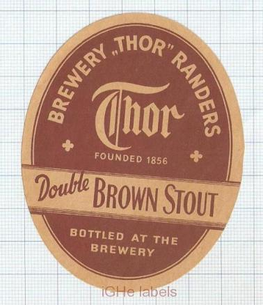 DENMARK - Thor Bryggerierne Randers - DOUBLE BROWN STOUT - beer label