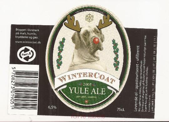 DENMARK - Micro,WinterCoat Sabro - YULE ALE christmas dog- beer label
