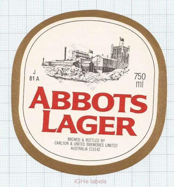 AUSTRALIA - Carlton & United Brew Southbank -ABBOTS LAGER -beer label