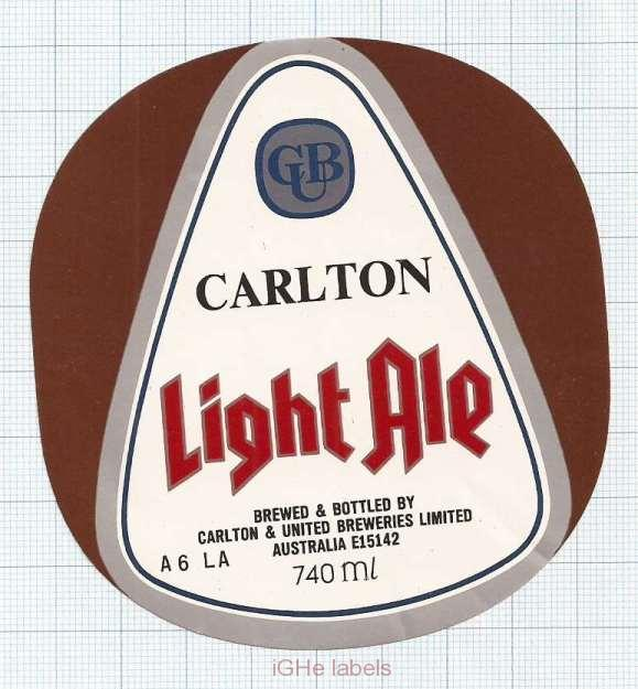 AUSTRALIA - Carlton & United Brew - LIGHT ALE - beer label