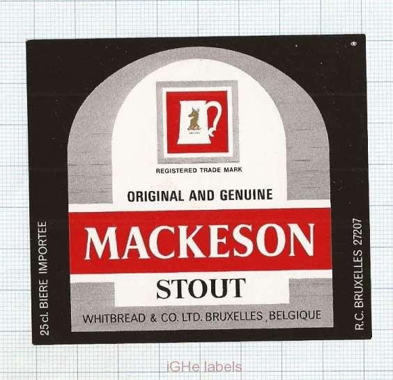 BELGIUM - Whitbread & Co Brussel - MACKESON STOUT - beer label
