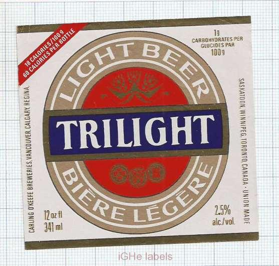 CANADA - Brew O'Keefe - TRILIGHT - beer label