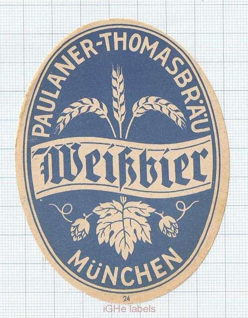 GERMANY - Paulaner Thomas Brau Munchen - WEISSBIER - beer label