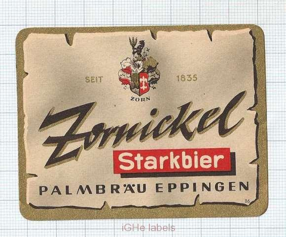 GERMANY - Palmbräu Eppingen - ZORNICKEL Starkbier - beer label