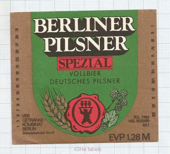 GERMANY - Brau Berliner Kindl Berlin - BERLINER PILSNER SPEZIAL bear- beer label