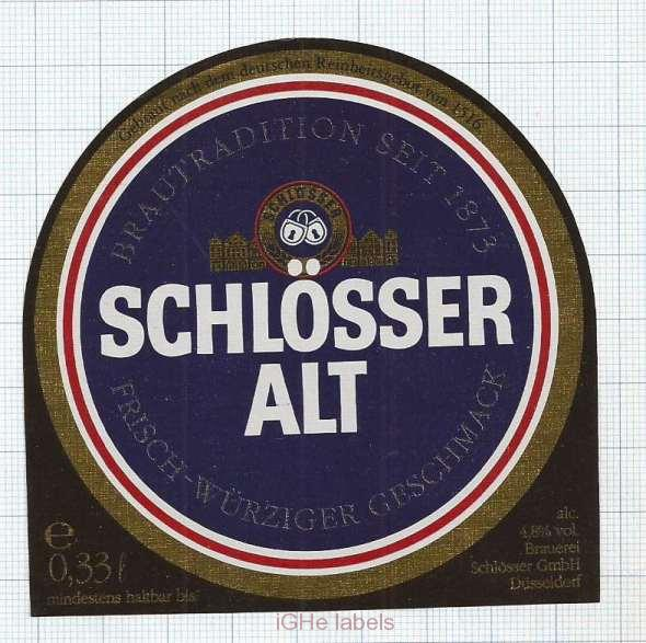 GERMANY - Brauerei Schlosser Dusseldorf - ALT - beer label