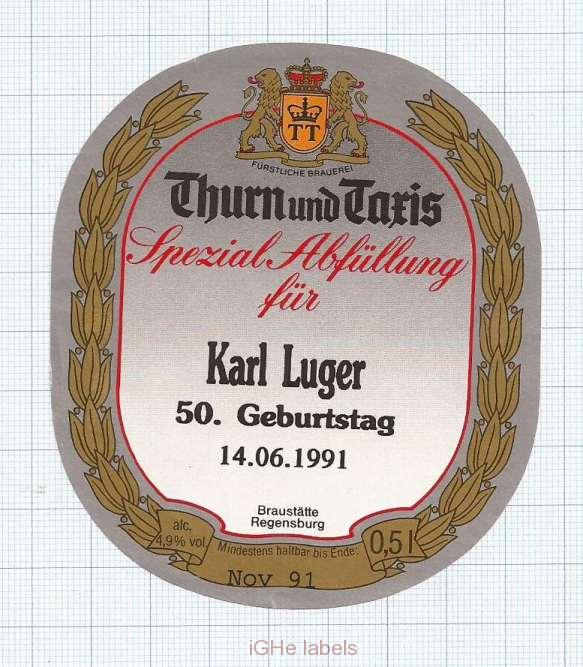 GERMANY -   Thurn und Taxis Regensburg - KARL LUGER - beer label