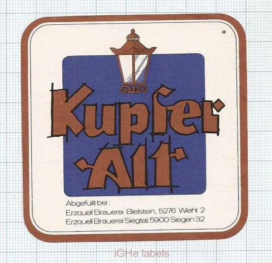 GERMANY - Erzquell Brauerei - KUPFER ALT - beer label
