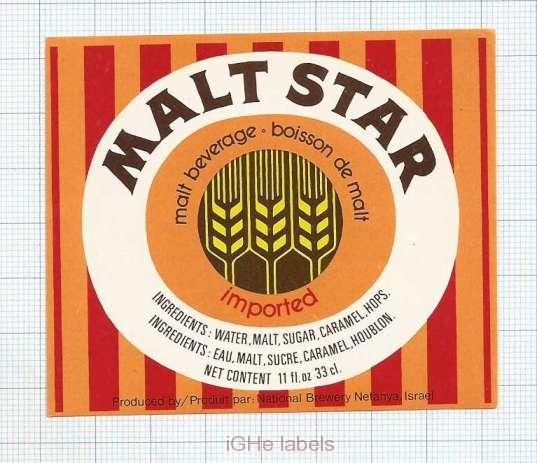 ISRAEL - National Brewery, Netanya - MALT STAR - Beer label