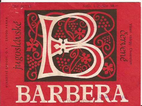 CZECHOSLOVAKIA - Chomutov - Barbera - wine label