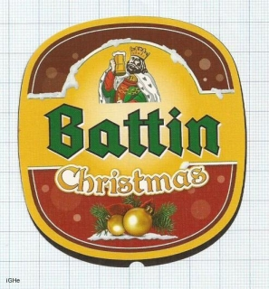 LUXEMBOURG - Battin (Bofferding) Esch-sur-Alzette - CHRISTMAS - beer label