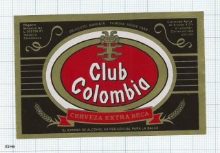 COLOMBIA - CLUB COLOMBIA Cerveza extra seca - beer label