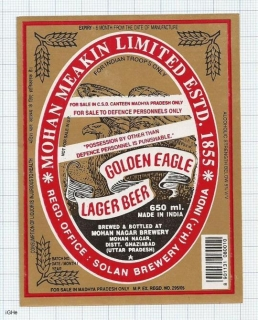 INDIA - Mohan Meakin Brew Ghaziabad - GOLDEN EAGLE - beer label