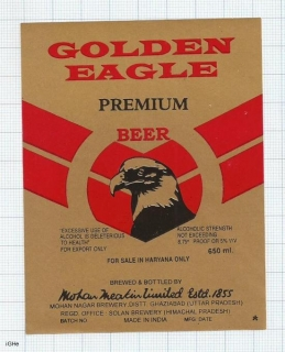 INDIA - Mohan Meakin Brew Ghaziabad - GOLDEN EAGLE- beer label