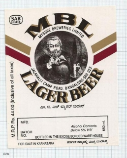 INDIA - Mysore Brews SABMiller Bangalore - LAGER BEER - beer label