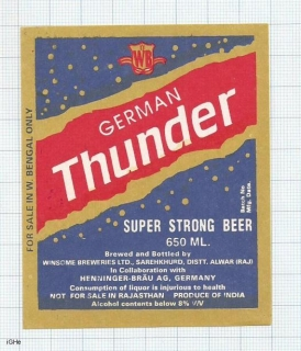 INDIA - Winsome Brew Sarehkhurd - GERMAN THUNDER - beer label