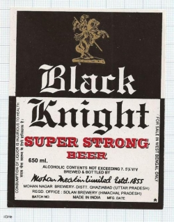 INDIA - Mohan Meakin Brew Ghaziabad - BLACK KNIGHT - beer label