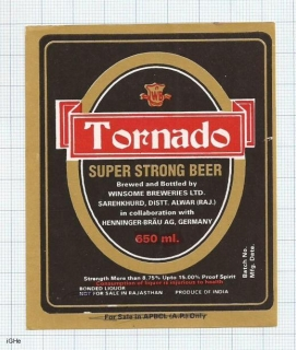 INDIA - Winsome Brew Sarehkhurd - TORNADO - beer label