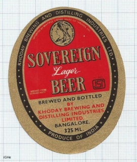 INDIA - Khoday Brew Bangalore - SOVEREIGN Lager Beer - beer label