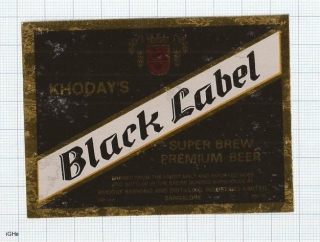 INDIA - Khoday Brew Bangalore - BLACK LABEL - beer label