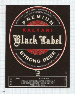 INDIA - United Brew. - Bobmbay Brew Taloja - BLACK LABEL - beer label