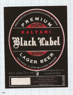 INDIA - United Brew Kalyani- BLACK LABEL - beer label