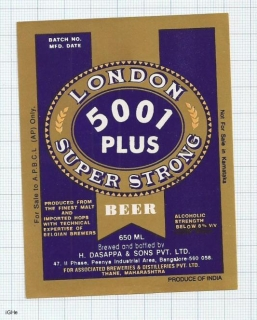 INDIA - Dasappa Brew Bangalore - LONDON 5001 - beer label
