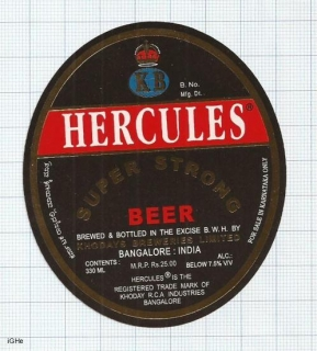 INDIA - Khoday Brew Bangalore - HERCULES - beer label