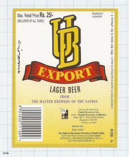 INDIA - United Brew Punjab Brew Ludhiama - EXPORT LAGER - beer label