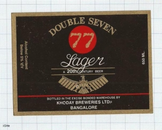 INDIA - Khoday Brew Bangalore - 77 DOUBLE SEVEN - beer label