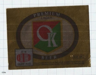 INDIA - Khoday Brew Bangalore - OK LAGER - beer label
