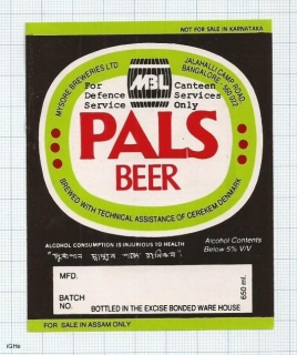 INDIA - Mysore Brews SABMiller Bangalore - PALS BEER - beer label