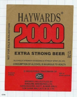 INDIA - Winsome Brew Sarehkhurd - HAYWARDS 2000 - beer label