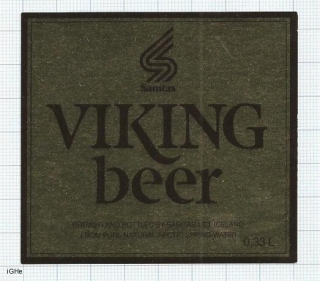 ICELAND - Sanitas Reykjavik - VIKING BEER -  beer label