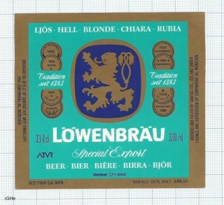 ICELAND - Sanitas Reykjavik - LOWENBRAU - beer label